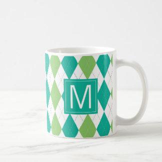 Taza De Café Trullo del monograma el | y modelo verde de Argyle