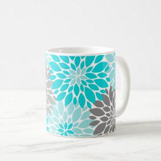 Taza De Café Turquesa y estampado de flores gris de los