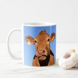 Taza De Café Vaca del jersey que se lame la nariz
