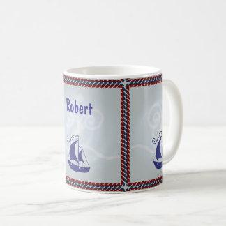 Taza De Café Velero con el marco de la cuerda