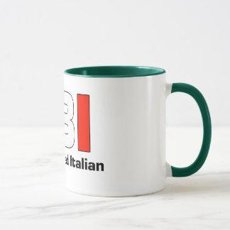 Taza de café verde italiana llena del FBI Blooded