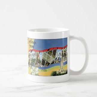 Taza De Café Viaje del vintage, saludos del golfo de Luisiana