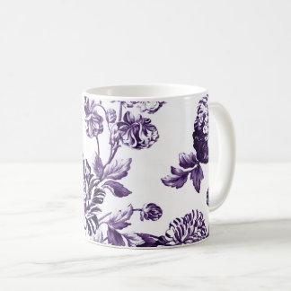 Taza De Café Vintage púrpura Toile floral No.2 de la mora negra
