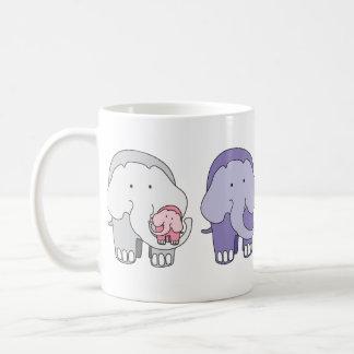 Taza De Café Violeta y amigos - los elefantes