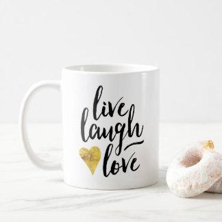 Taza de café viva de la risa del amor
