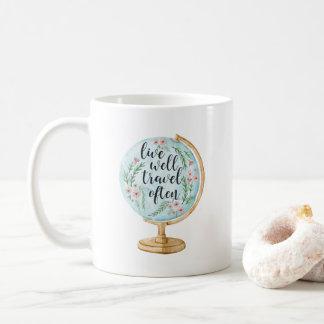 Taza De Café Vive bien, el viaje a menudo