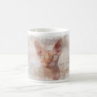 Taza De Café Watercolor. del gato de Sphynx