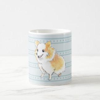 Taza De Café Watercolour que se sienta de Pomeranian en azul