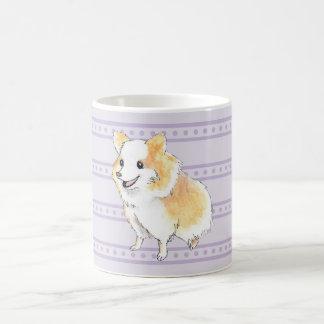 Taza De Café Watercolour que se sienta de Pomeranian en púrpura