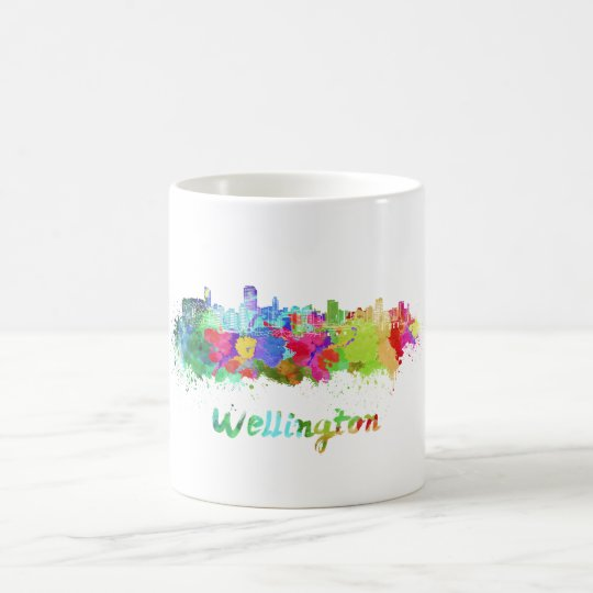Taza De Café Wellington skyline in watercolor