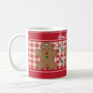 Taza De Café Yum, Yum, navidad retro delicioso del pan de