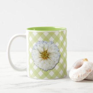Taza de café - Zinnia blanco en enrejado