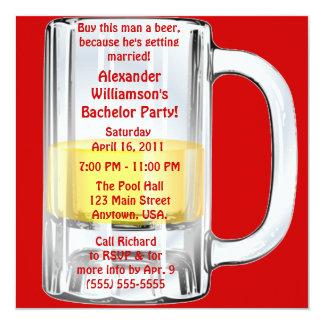 Taza de cerveza de la despedida de soltero invitación 13,3 cm x 13,3cm