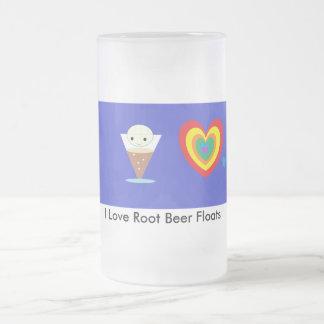 Taza De Cristal Esmerilado Amo los flotadores de cerveza de raíz
