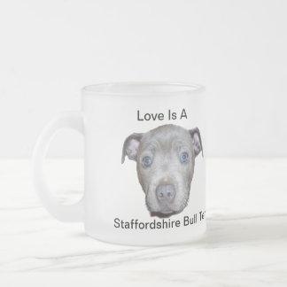 Taza De Cristal Esmerilado Amor adolescente azul de Staffordshire bull