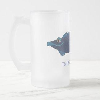 Taza De Cristal Esmerilado Arte de madriguera azul caprichoso y adorable del