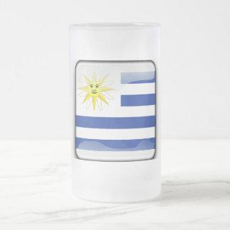 Taza De Cristal Esmerilado Bandera brillante de Uruguay
