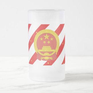 Taza De Cristal Esmerilado Bandera china de las rayas