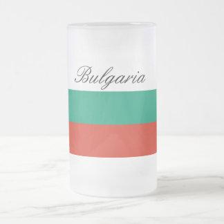 Taza De Cristal Esmerilado Bandera de Bulgaria o del búlgaro