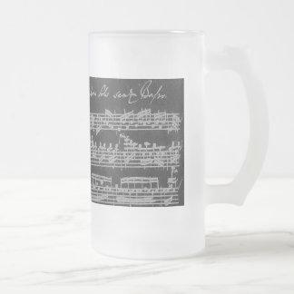 Taza De Cristal Esmerilado Blanco de Bach Partita en negro