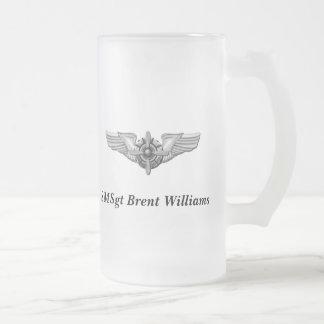Taza De Cristal Esmerilado Casco de Viking y Wings-Personalized.