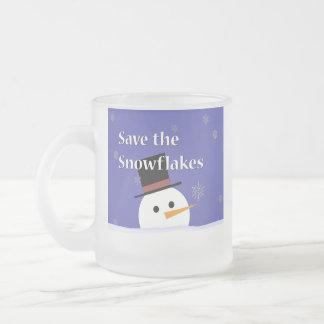 Taza De Cristal Esmerilado Copos de nieve adorables del ahorro del muñeco de