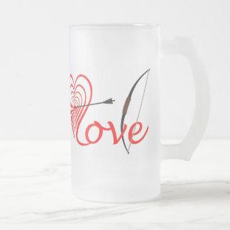 Taza De Cristal Esmerilado Corazón amor blanco con flecha y arco