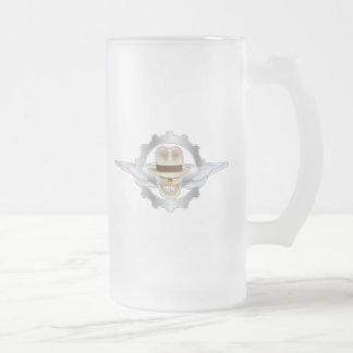 Taza De Cristal Esmerilado Cráneo HELADO Dieselpunk de Fedora que vuela