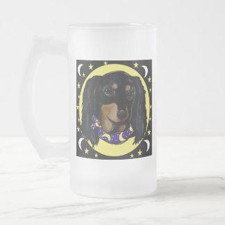 Taza De Cristal Esmerilado Dachshund negro de pelo largo