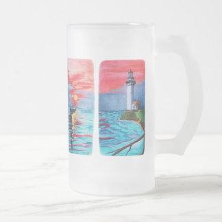 Taza De Cristal Esmerilado De sirenas del faro
