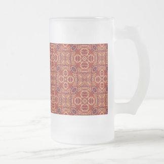 Taza De Cristal Esmerilado Diseño rizado dibujado mano colorida abstracta del
