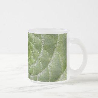 Taza De Cristal Esmerilado diseño verde del espiral del modelo de la hoja