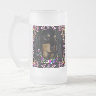 Taza De Cristal Esmerilado Doxie negro de pelo largo