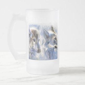Taza De Cristal Esmerilado El lobo del hielo