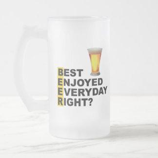 Taza De Cristal Esmerilado ¿El mejor de la cerveza disfrutó de la derecha