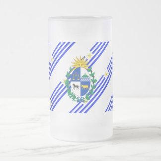 Taza De Cristal Esmerilado El Uruguayan raya la bandera