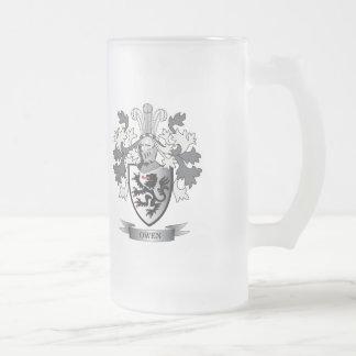 Taza De Cristal Esmerilado Escudo de armas del escudo de la familia de Owen