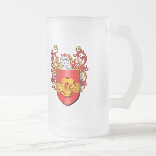 Taza De Cristal Esmerilado Escudo de armas español clásico de Futbol del