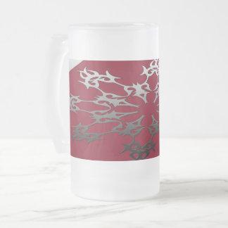Taza De Cristal Esmerilado Extracto étnico del ladrillo negro rojo de plata