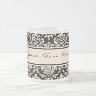Taza De Cristal Esmerilado Falso modelo elegante de los damascos del oro en