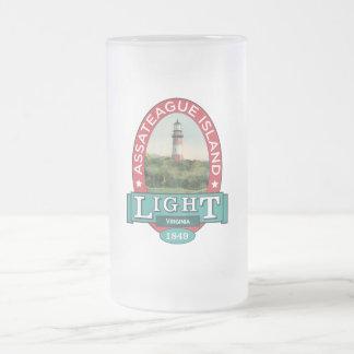 Taza De Cristal Esmerilado Faro de la isla de Assateague