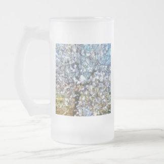 Taza De Cristal Esmerilado Flor de la almendra de la primavera