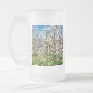 Taza De Cristal Esmerilado Flor de la huerta de la almendra