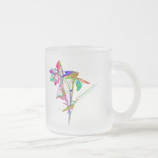 Taza De Cristal Esmerilado Fractal - flor y brote