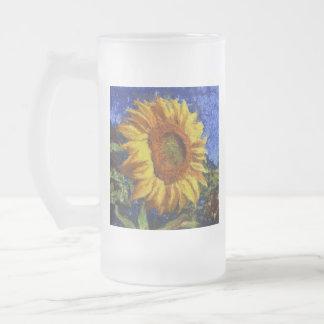 Taza De Cristal Esmerilado Girasol en el estilo de Van Gogh