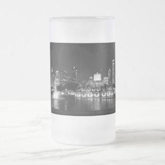 Taza De Cristal Esmerilado Grayscale de Chicago del parque de Grant