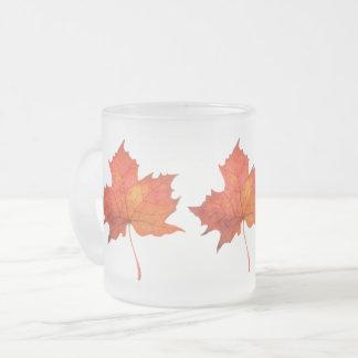 Taza De Cristal Esmerilado Hoja de arce de la acuarela