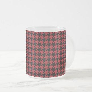 Taza De Cristal Esmerilado Houndstooth rojo y negro