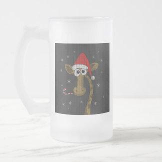 Taza De Cristal Esmerilado Jirafa del navidad
