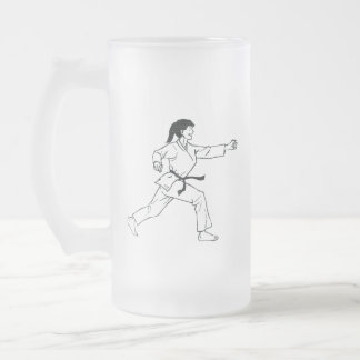 Taza De Cristal Esmerilado Karate Womyn